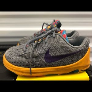 Nike Air KD VIII Gray Orange Toddler Boys Sneakers